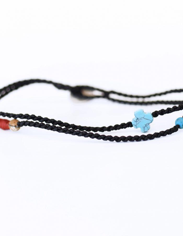 Βραχιόλι δίσειρο με αλυσιδωτή πλέξη με τουρκουάζ μικρό σταυρό fcc8b6712f5