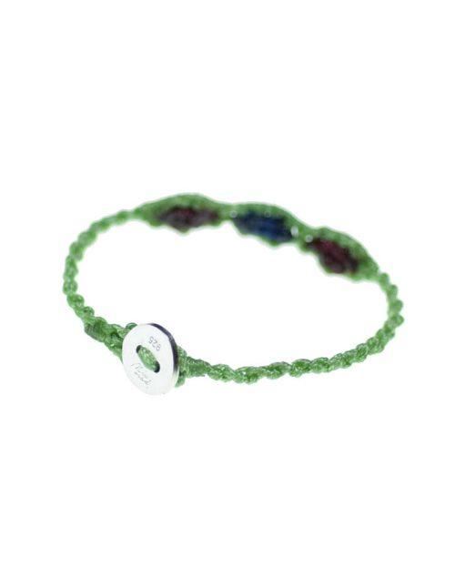 Παιδικό βραχιόλι macrame με πλεκτή πράσινη αλυσίδα και χρωματιστές ανταύγειες